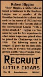 1912 T207 Reprint #78  Robert Higgins  Back Thumbnail