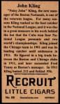 1912 T207 Reprint #88  John Kling  Back Thumbnail