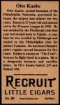1912 T207 Reprint #89  Otto Knabe  Back Thumbnail