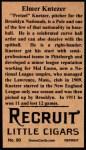 1912 T207 Reprint #90  Elmer Knetzer  Back Thumbnail