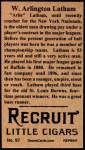 1912 T207 Reprint  W. Arlington Latham  Back Thumbnail
