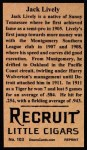 1912 T207 Reprint #103  Jack Lively  Back Thumbnail