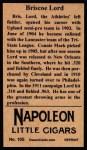 1912 T207 Reprint #105  Briscoe Lord  Back Thumbnail