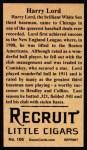1912 T207 Reprint #106  Harry Lord  Back Thumbnail