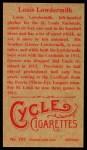 1912 T207 Reprint #107  Louis Lowdermilk  Back Thumbnail