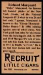 1912 T207 Reprint #108  Rube Marquard  Back Thumbnail