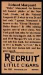 1912 T207 Reprint  Rube Marquard  Back Thumbnail