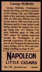 1912 T207 Reprint  George McBride  Back Thumbnail