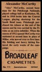 1912 T207 Reprints #111  Alexander McCarthy  Back Thumbnail