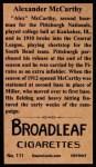 1912 T207 Reprint #111  Alexander McCarthy  Back Thumbnail
