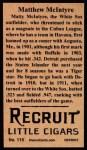 1912 T207 Reprint #115  Matthew McIntyre  Back Thumbnail