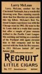1912 T207 Reprints #117  Larry McLean  Back Thumbnail