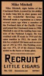 1912 T207 Reprint #123  Mike Mitchell  Back Thumbnail