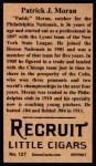 1912 T207 Reprints #127  Pat Moran  Back Thumbnail