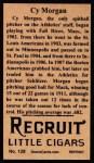 1912 T207 Reprint #128  Cy Morgan  Back Thumbnail