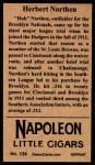 1912 T207 Reprint #134  Herbert Northen  Back Thumbnail