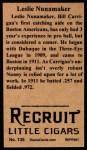 1912 T207 Reprint #135  Leslie Nunamaker  Back Thumbnail