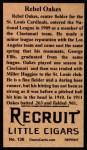 1912 T207 Reprint #136  Rebel Oakes  Back Thumbnail