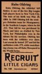 1912 T207 Reprint #138  Rube Oldring  Back Thumbnail
