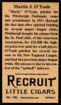 1912 T207 Reprint  Martin J. O'Toole  Back Thumbnail