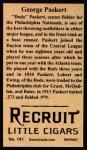 1912 T207 Reprint #141  George Paskert  Back Thumbnail