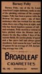 1912 T207 Reprint  Barney Pelty  Back Thumbnail