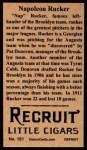 1912 T207 Reprint #151  Napoleon Rucker  Back Thumbnail