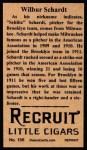 1912 T207 Reprint #156  Wilbur Schardt  Back Thumbnail