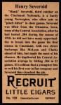 1912 T207 Reprint #159  Henry Severeid  Back Thumbnail