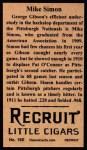 1912 T207 Reprints #160  Mike Simon  Back Thumbnail