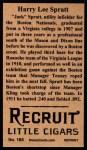 1912 T207 Reprint  Harry Spratt    Back Thumbnail