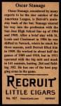 1912 T207 Reprint #167  Oscar Stanage  Back Thumbnail