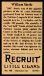 1912 T207 Reprints #168  William Steele  Back Thumbnail