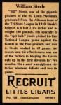 1912 T207 Reprint  Bill Steele  Back Thumbnail