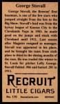 1912 T207 Reprint #170  George Stovall  Back Thumbnail