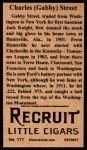 1912 T207 Reprint #171  Charles (Gabby) Street  Back Thumbnail