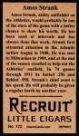 1912 T207 Reprint #172  Amos Strunk  Back Thumbnail