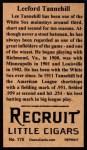 1912 T207 Reprint #175  Leeford Tannehill  Back Thumbnail