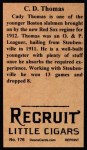 1912 T207 Reprint #176  C. D.  Thomas  Back Thumbnail