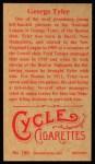 1912 T207 Reprints #180  George Tyler  Back Thumbnail