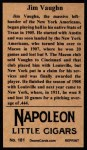 1912 T207 Reprint #181  Hippo Vaughn  Back Thumbnail