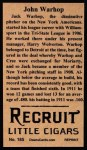1912 T207 Reprint #185  John Warhop  Back Thumbnail