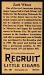 1912 T207 Reprint #187  Zach Wheat  Back Thumbnail