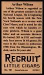 1912 T207 Reprints #191  Arthur Wilson  Back Thumbnail
