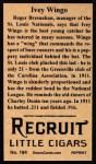 1912 T207 Reprints #194  Ivey Wingo  Back Thumbnail