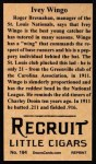 1912 T207 Reprint #194  Ivey Wingo  Back Thumbnail