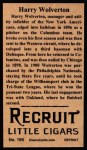 1912 T207 Reprints #195  Harry Wolverton  Back Thumbnail