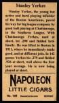 1912 T207 Reprint #199  Stanley Yerkes  Back Thumbnail