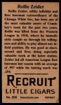 1912 T207 Reprint #200  Rollie Zeider  Back Thumbnail