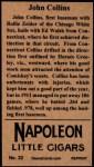 1912 T207 Reprint #32  Shano Collins  Back Thumbnail